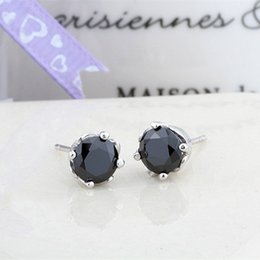 5c2880b30 earrings for man silver 925 jewellery woman girls tide boys round small cool  black zirconia all match fashion excellent casual 6mm 6 pairs