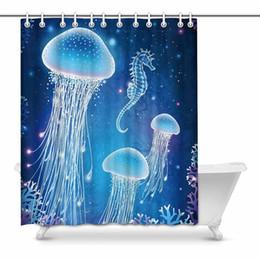 Fairy Bathroom Decor Australia - Fairy Tale Galaxy Seahorse and Jellyfish Under Sea Waterproof Shower Curtain Decor Fabric Bathroom Set with Hooks
