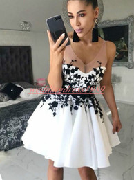 991e5a895dc Knee length classic white dresses online shopping - Charming Black White  Short Homecoming Dresses Backless V