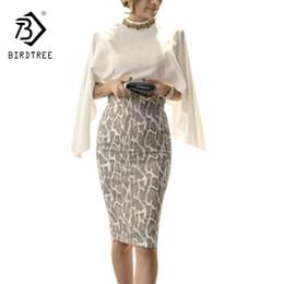Shirt Poncho Australia - Chiffon Tops And Skirt 2 Piece Set Cape Poncho Shawl Design Women Work Wear White Chiffon Shirt + Package Hip Skirt Suit S7n203a Y19042901