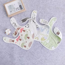 $enCountryForm.capitalKeyWord NZ - High Quality Natural Safety Cute Square Cotton Gauze Microfibre Baby Napkin Bibs Baby Face Towel Saliva Towel Cotton with button
