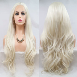 $enCountryForm.capitalKeyWord Australia - Sexy Soft 180% Density Blonde Layered Natural Wave Synthetic Hair Lace Front Wig Glueless Heat Resistant Fiber Natural Hairline For Women