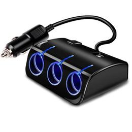 12v socket for car online shopping - 12V V Car Cigarette Lighter Socket Splitter Plug LED Car USB Port Charger Power Adapter For Phone MP3