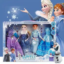 Princess dress uP shoes online shopping - Frozen Cartoon princess doll handmade dress shoes clothes crown Magic wand up Action Aisha Ana Lovely Toy Model For kid birthday gift O02