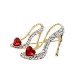 Asian Shoe Wholesalers Australia - Romantic Crystal High-heeled Shoes Brooch Women Coat Suit Collar Rhinestone Heart Pin Wedding Party Banquet Brooch
