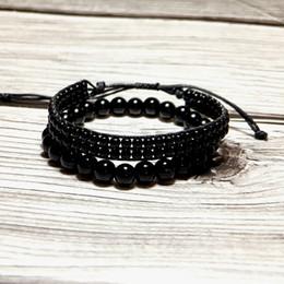 $enCountryForm.capitalKeyWord Australia - Fashion 2 Pcs  Set Black Obsidian Bracelet Charm Handmade Buddha Braclet For Men Yoga Meditian Jewelry Erkek Bileklik Homme