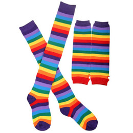 Warm Winter thigh high socks online shopping - Womens Unisex Winter Knitted Fingerless Gloves Socks Set Rainbow Stripes Printed Colorful Thigh High Stockings Elbow Warmer