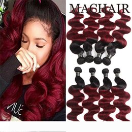 black red hair dye UK - Pre-colored 1B 99J Bundles Braizilian Body Wave Hair Ombre Human Hair Bundles 1b 99j Burgundy black Red Ombre Brizilian Hair 1b 27