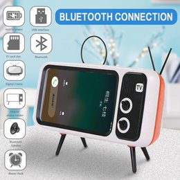plastic phone holders Australia - 3 In 1 Wireless Speaker Retro TV Mini Portable Bluetooth Bass Speakers Mobile Phone Holder Stand Retro Photo Frame xmas Gift