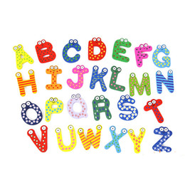 $enCountryForm.capitalKeyWord Australia - 26pcs Blackboard Toy Kids Baby Cartoon Wooden Early Education Spelling Refrigerator Magnets Alphabet Letters