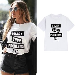 8471a1a99 Enjoy t shirt Your problems short sleeve tops Bye words fadeless tees  Unisex white colorfast clothing Pure color modal Tshirt
