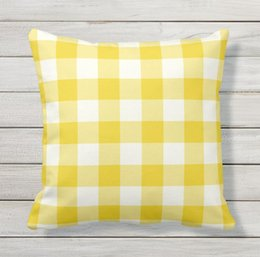 $enCountryForm.capitalKeyWord UK - Pillow case,Lemon Yellow Outdoor Pillows Case - Gingham Pattern,Car cushion pillow cover(16 In, 18 In, 20 In)