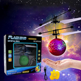 flying helicopter toy remote 2019 - Magic RC Drone Flying Ball LED Flashing Aircraft Induction Electric Remote Control Helicopter Kids Toys Christmas Gift w