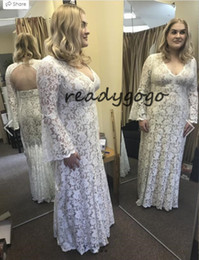 Wholesale plus bell sleeve dresses resale online - Lucca Gown Plus Size Boho Queen Sheath Wedding Dresses with Long Bell Sleeves V neck Backless Bridal Wood Dress