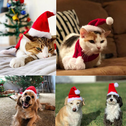 scarves for dogs 2019 - 1pcs Christmas Pet Hat Scarf Red Santa Claus Hat for Small Puppy Cat Dog Holiday Costume Christmas Party Decoration chea
