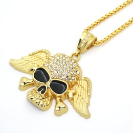 $enCountryForm.capitalKeyWord Australia - Men's Black Drops Oil Skull with Wings Pendant Necklace European and American Hip Hop Necklace Bling Bling Golden Necklace