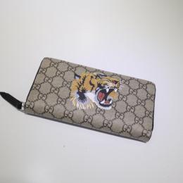 Pvc Long Zipper Canada - famous brand wallet fashion single zipper luxury designer women leather wallet Cat snake tiger and bee lady  long purse