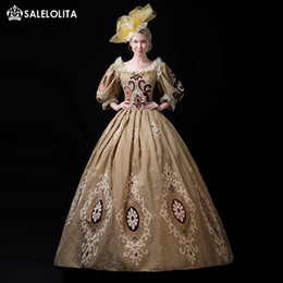 Antoinette dress online shopping - Gold Blue Champagne Embroidery th Century Rococo Gothic Marie Antoinette Victorian Party Dress Period Theater Women Costumes