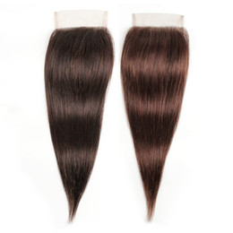 Straight virgin peruvian cloSure 4x4 online shopping - Chocolate Brown x4 Lace Closure Brazilian Virgin Human Hair Peruvian Indian Malaysian Straight Hair Inch Remy Hair Closure