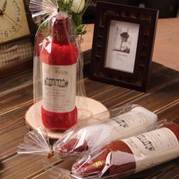 wholesale gift boxes cotton Australia - 1 Pcs Creative Wine Bottle Shaped Towel Gift Opp Bags Present Box Single Wine Bottle Cotton Towel Birthday Gift