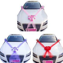 $enCountryForm.capitalKeyWord Australia - Wedding Car Decoration Flowers With Pearls Artificial Rose Diy Ribbon Romantic Heart Shape Wedding Wreath Garden Party Decor