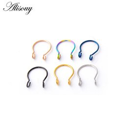 Fake Nose Jewelry Australia - New 1PC Steel 20G Dainty Faux Nose Rings Fake Septum Rings Hoop Nostril Piercing Fake Clip on Nose Oreja Piercings Jewelry