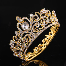 Kids Wedding Hair Accessories Crystal NZ - ashion Jewelry Hair Jewelry KMVEXO Full Round Crystal Rhinestone Wedding Tiaras Bridal Hair Accessories Kids Crown for Cake Topper Festiv...