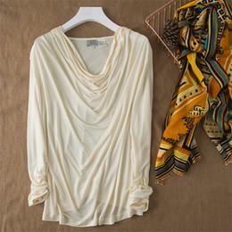 dcd9c2b699e883 100% natural silk Blouses OL Knitted Long Sleeve Real Silk White Blouse Tops  for women Office Wear Shirts work Blouses