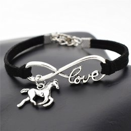 $enCountryForm.capitalKeyWord NZ - Europe Black Leather Suede Cuff Bracelet Simple All-Match Infinity Love Horse Pendant Charm Bangles For Women Men 2019 New Hand Jewelry Gift