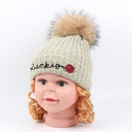 Beanies Hats For Kids Australia - Kids Beanies Hats Baby Boys Girls Embroidery Knitted Hat Warm Wool Knit Beanie Cap for Girls With Real Raccoon Fur Pompom Ball Caps