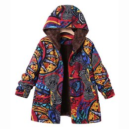 Floral Longer Hooded Winter Parka Australia - Parkas Women Winter Warm 2018 Vintage Pockets Floral Fleece Long Hooded Thick Button Cotton-Padded Parkas Jacket coat Casaco 5xl