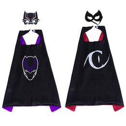 Wholesale 27inch Cartoon Superhero Cosplay Cape with Mask Set for Kids Black Panther Catwoman Costumes Cape Child Fancy Dress Birthday Party Favors