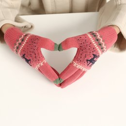Mittens Knitted Pattern Australia - Colorful Unisexy Fingerless Fitness Gloves Fawn pattern Thickening & velvet Warm outdoor Fingerless Knitted Gloves DHL Free 200pcs