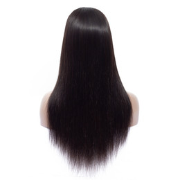 $enCountryForm.capitalKeyWord UK - Brazilian Human Hair Wigs Virgin Straight Hair Middle Part 4x4 Lace Front Wig with Bangs for Black Women 180% Density Glueless Natural Color