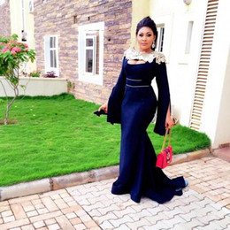 prom gowns full sleeves deep neck 2019 - Navy Blue Long Mermiad Prom Dresses 2019 Full Sleeves Floor Length Appliques Boat Neck Formal Evening Gowns discount pro