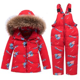 $enCountryForm.capitalKeyWord Australia - 100% Down Hooded Fur Baby Girl Winter Clothing Set Jacket Toddler -30 Degrees Overalls Jumpsuits Catoon Print Clothing 2 3 4 5 Y