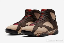 Mink Shoes Australia - 2019 Hottest Authentic 7S Patta x 7 OG SP Shimmer Tough Red MAHOGANY MINK VELVET BROWN AT3375-200 Men Basketball Shoes With Original Box