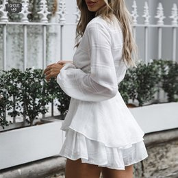 white elegant shorts jumpsuit Australia - Bow Casual Women Playsuit Long Sleeve Ruffle Sexy Beach Playsuit V Neck White Elegant Shorts Jumpsuit Rompers