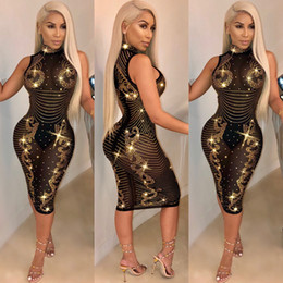 d3fc1d2c430 HISIMPLE 2019 Big Diamonds Bodycon Dresses Sexy Transparent Diamond Midi  Dresses Turtleneck Sleeveless Club Party Dress Size S-3XL Vestidos