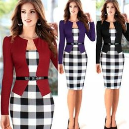 Women formal sleeve dresses online shopping - Career Ladies Formal Working Dress Plaid Slim Square Neck Patchwork Knee length Party Women Work Bodycon Dresses With Belt GGA1592