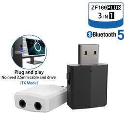 bluetooth receiver for headphones UK - 3 IN 1 Bluetooth 5.0 Audio Receiver Transmitter Stereo 3.5MM USB Bluetooth Wireless Adapter For TV PC Car Kit Headphones