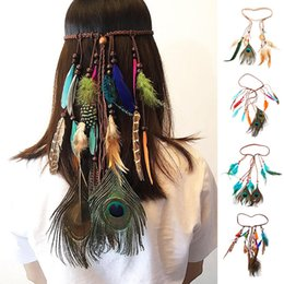 peacock feather wedding hair accessories NZ - Indian Feather Headband Hair Accessories 2019 Festival Women Hippie Adjustable Headdress Boho Peacock Hair Band Headwear