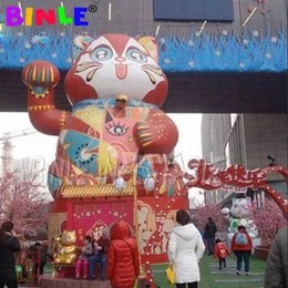 balloons cats UK - Different styled red large inflatable Fortune Cat,lucky cat mascot balloon for city temple decoration