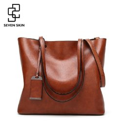 Tote Large Canada - SEVEN SKIN Nice New Fashion Women Handbags Famous Brands Leather Bags Female Large Shoulder Bags Casual Tote Bag Bolsa Feminina