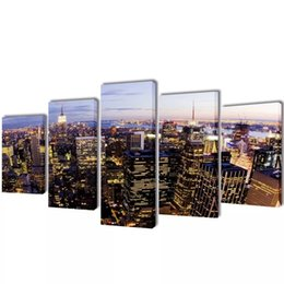 york gifts UK - September 5 Pcs Print On Canvas By Wall Top View Of New York 100 X 50Cm Wall Stickers