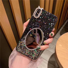 Cell Phone Cases For Cheap Australia - Cheap Glitter Star Rhinestones IPhone 6 7 8 Plus Mobile Phone Case Elliptical Mirror Anti-fall Cell Phone Case For iPhone X XR DHL