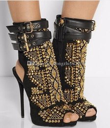 studs sandals Australia - Rivets Stud Combat Summer Boots High Heels Gladiator Sandals Women Shoes Open Toe Buckles Ankle Boots Pumps Factory Real Pics Size 42