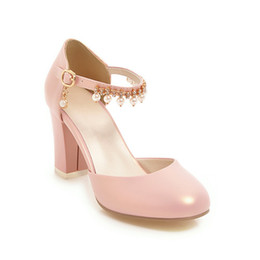 555dc1c03b44 2018 Summer New Sandals Hollow one-word buckle rhinestone beaded thick heel  high heel 32-43 women s shoes 1849