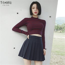 turtleneck t shirt female Canada - 2020 Autumn Vintage Fashion Turtleneck Women T Shirt Female Striped Sexy Crop Top Casual Long Sleeve Slim T Shirts Women 40952