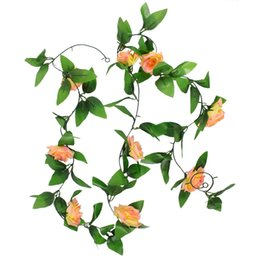 fake vine plants NZ - Beautiful Artificial Fake Rose Vine Vivid Simulation Plant Home Bouquet Life like Floral Decor Champagne Colorful